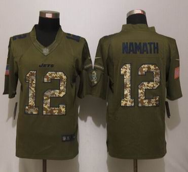 Nike nfl New York Jets 12 Namath Green Salute To Service Limited Jersey