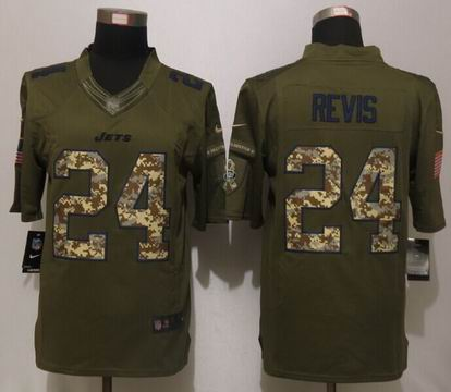 Nike nfl New York Jets 24 Revis Green Salute To Service Limited Jersey