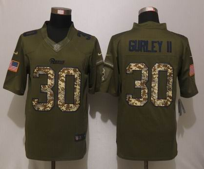 Nike nfl Rams 30 Gurley ii Green Salute To Service Limited Jersey