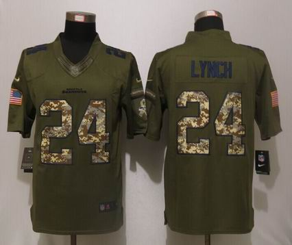 Nike nfl Seattle Seahawks 24 Lynch Green Salute To Service Limited Jersey