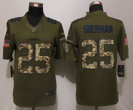 Nike nfl Seattle Seahawks 25 Sherman Green Salute To Service Limited Jersey