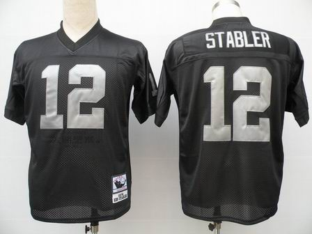 Oakland Raiders 12 Ken Stabler Black throwback Jersey