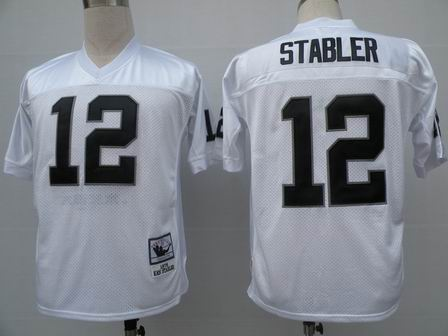 Oakland Raiders 12 Ken Stabler white throwback Jersey