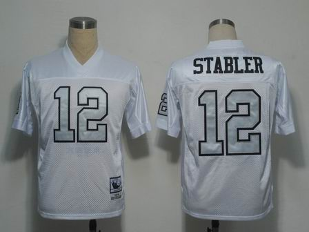 Oakland Raiders 12 Stabler throwback White jersey Silver Number