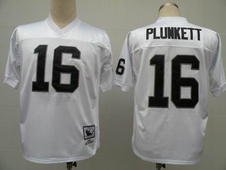 Oakland Raiders 16 Plunkett white throwback Jersey