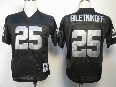 Oakland Raiders 25 Biletnikoff Black throwback Jersey