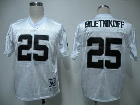 Oakland Raiders 25 Biletnikoff white throwback Jersey