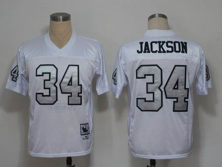 Oakland Raiders 34 Jackson white throwback Jersey silver number