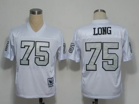 Oakland Raiders 75 Long white throwback Jersey silver number