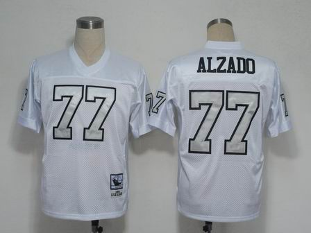 Oakland Raiders 77 Alzado white throwback Jersey silver number