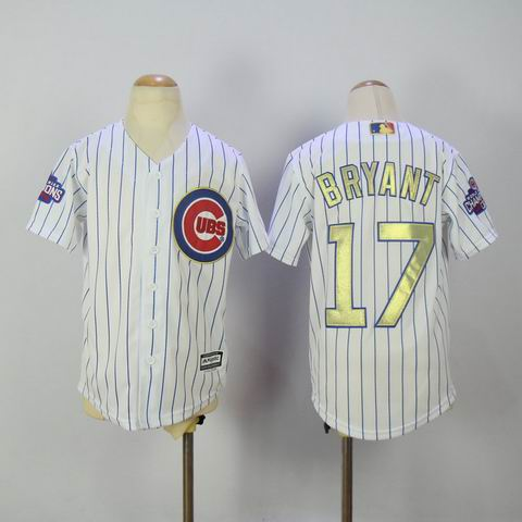 Youth MLB Cubs #17 Bryant white 2016 Champions jersey