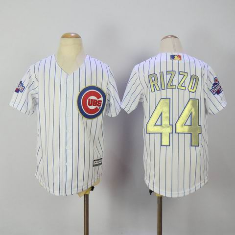 Youth MLB Cubs #44 Rizzo white 2016 Champions jersey
