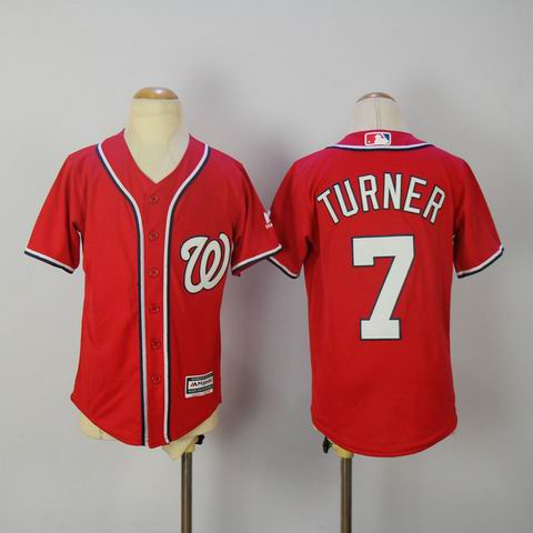 Youth MLB Washington Nationals #7 TURNER red jersey