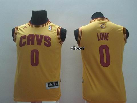 Youth NBA Cleveland Cavaliers #0 love yellow Jersey
