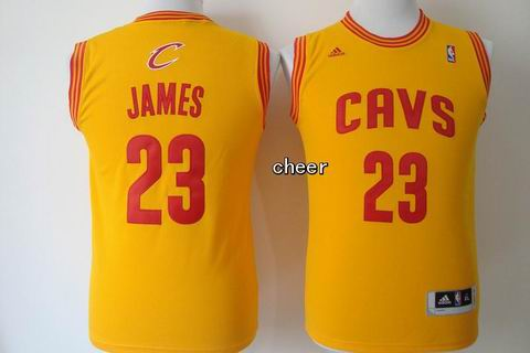Youth NBA Cleveland Cavaliers #23 James yellow Jersey