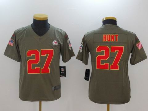 Youth Nike nfl Chiefs #27 HUNT Olive Salute To Service Limited Jersey
