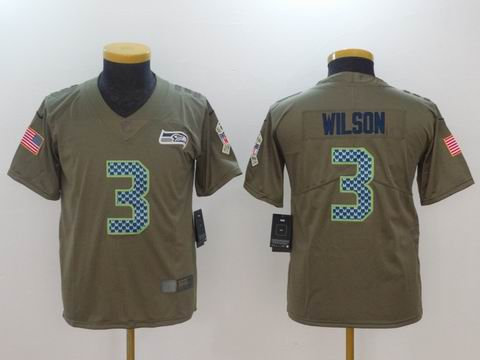 Youth Nike nfl Seahawks #3 Wilson WATT Olive Salute To Service Limited Jersey