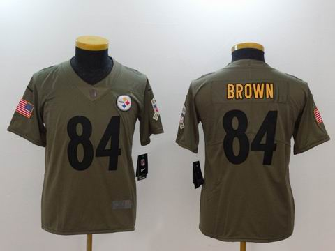 Youth Nike nfl Steelers #84 Brown Olive Salute To Service Limited Jersey