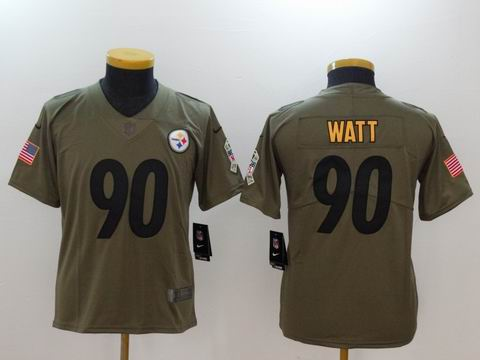 Youth Nike nfl Steelers #90 Watt Olive Salute To Service Limited Jersey