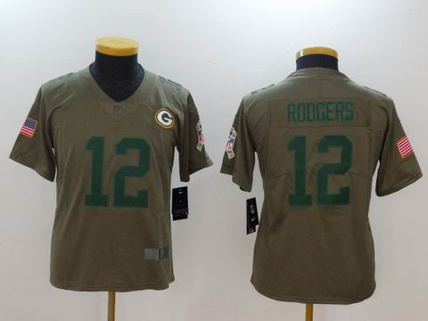 Youth Nike nfl packers #12 Rodgers Olive Salute To Service Limited Jersey