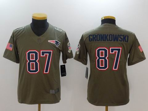 Youth Nike nfl patriots #87 Gronkowski Olive Salute To Service Limited Jersey