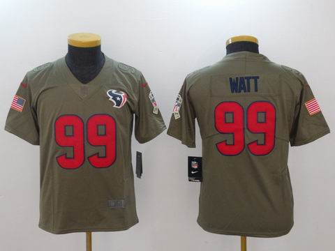 Youth Nike nfl texans #99 WATT Olive Salute To Service Limited Jersey