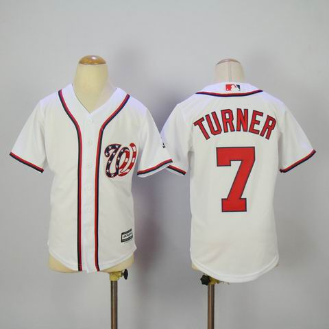 Youth mlb Washington Nationals #7 Turner white jersey