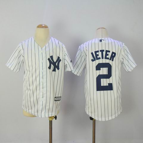 Youth mlb yankees #2 jeter white jersey