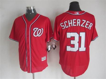 mlb Washington Nationals 31 Scherzer red jersey