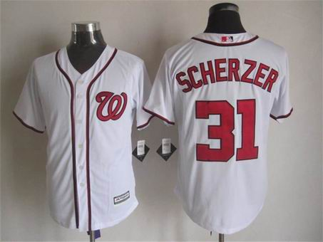 mlb Washington Nationals 31 Scherzer white jersey
