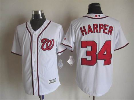 mlb Washington Nationals 34 Harper white jersey