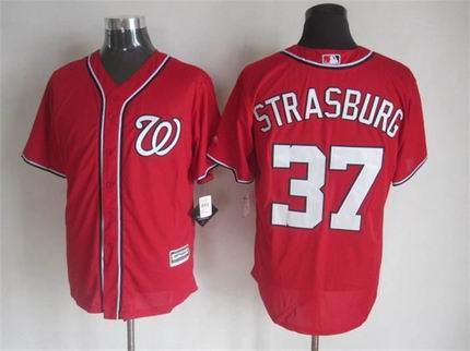mlb Washington Nationals 37 Strasburg red jersey