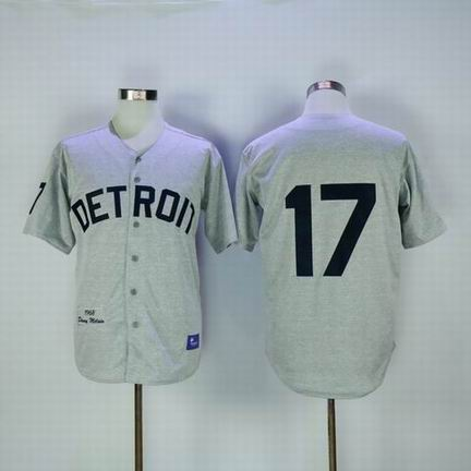 mlb detroit tigers #17 grey m&n jersey