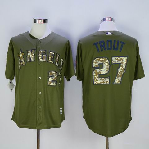 mlb los angeles angels #27 Trout green jersey
