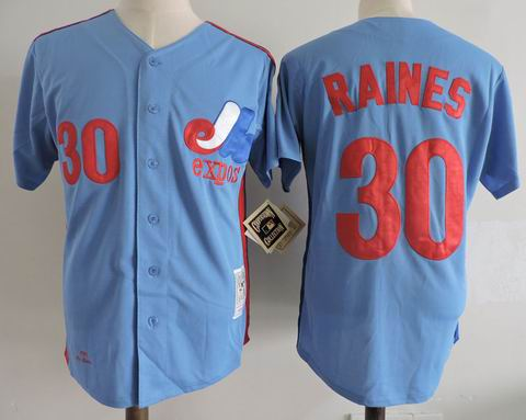 mlb montreal expos #30 raines m&n blue jersey
