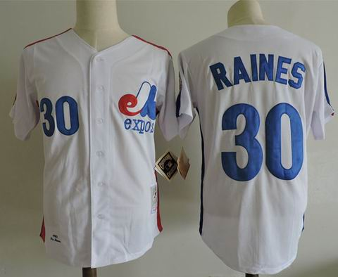 mlb montreal expos #30 raines m&n white jersey