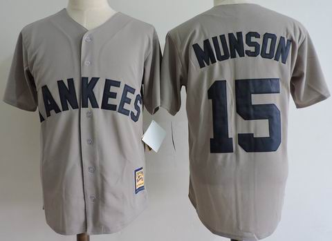mlb new york yankees #55 Munson grey jersey Mitchell&Ness