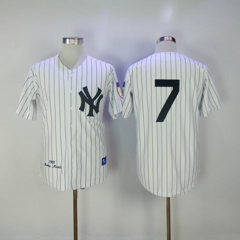 mlb new york yankees #7 1951 throwback white jersey