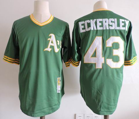 mlb oakland athletics #43 eckersley m&n green jersey
