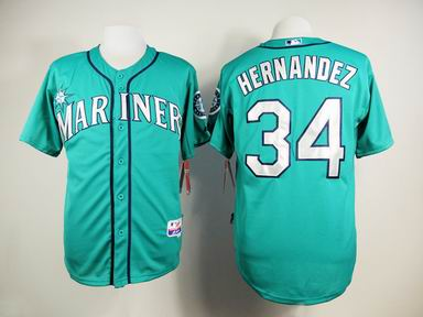 mlb seattle mariners 34 Hernandez green jersey