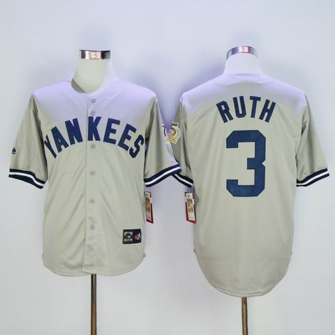 mlb yankees #3 grey ruth throwback jersey