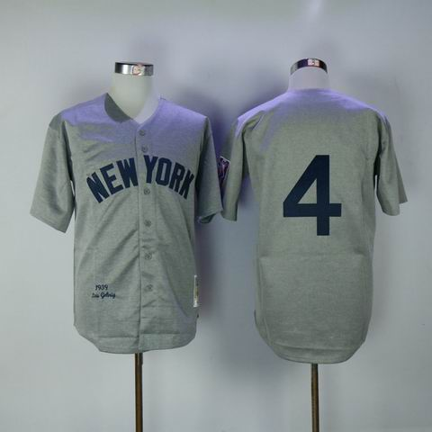 mlb yankees #4 grey 1939 throwback jersey