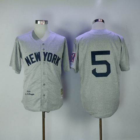 mlb yankees #5 grey 1939 throwback jersey