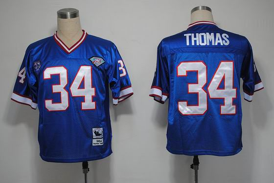 nfl Buffalo Bills 34 Thomas blue throwback jersey