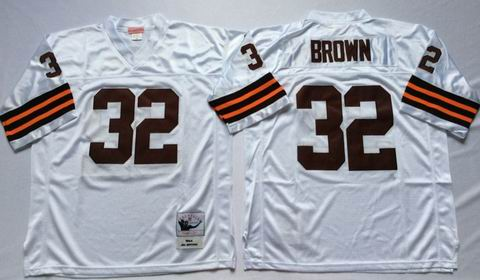 nfl Cleveland Browns #32 Brown white throwback Jersey