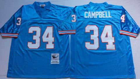 nfl Houston Oilers #34 campbell light blue Throwback Jersey
