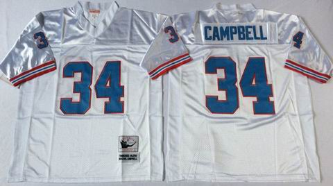 nfl Houston Oilers #34 campbell white Throwback Jersey