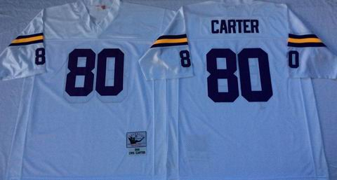 nfl Minnesota Vikings #80 Carter white throwback jersey