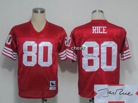 nfl San Francisco 49ers #80 rice red throwback jersey Autograped