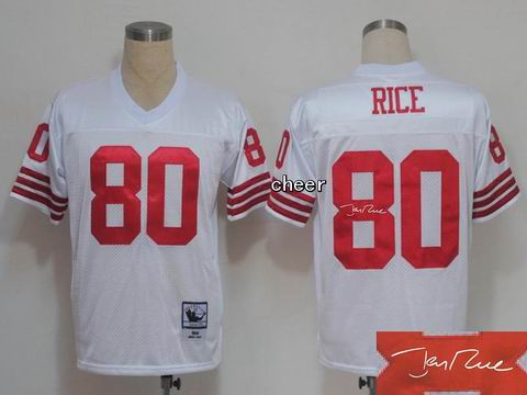 nfl San Francisco 49ers #80 rice white throwback jersey Autograped